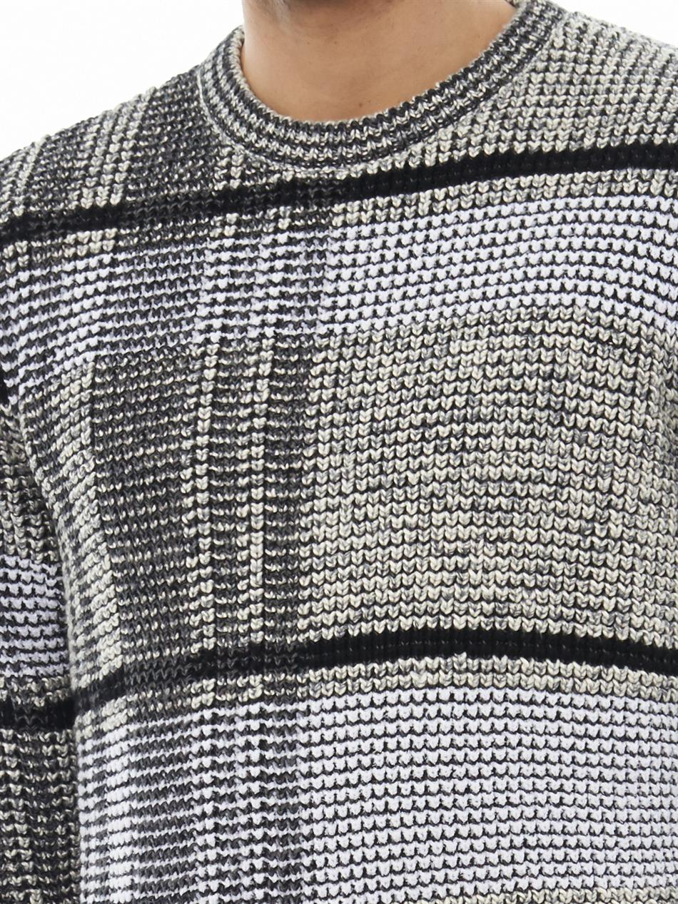 59ccdd9a1a30 Lyst - Alexander Wang Check-Knit Cotton-Blend Sweater in Gray for Men