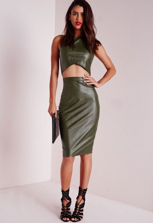 Missguided Faux Leather Midi Skirt Khaki in Natural | Lyst