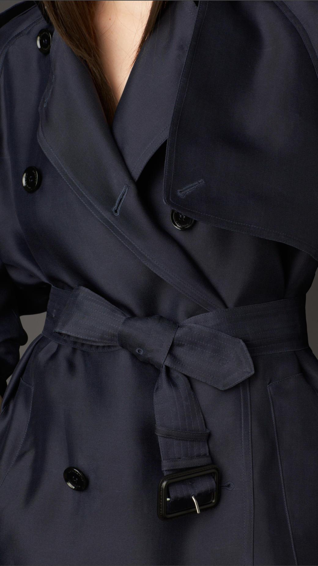 Lyst Burberry Long Showerproof Silk Trench Coat In Blue