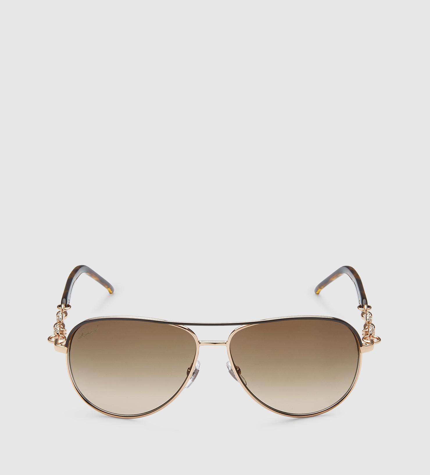 ac4d4cbe047 Lyst - Gucci Acetate Aviator Sunglasses With Marina Chain in Black