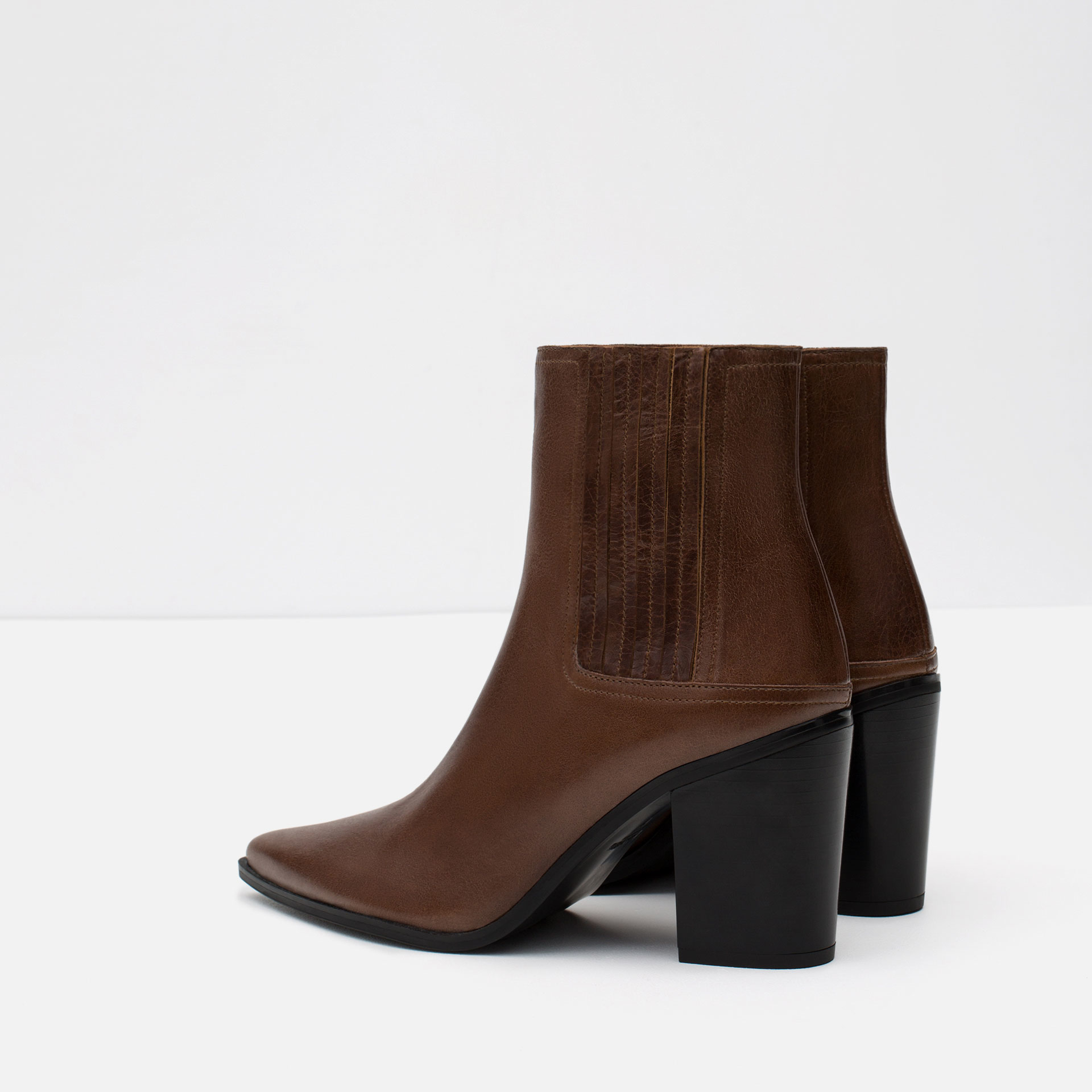 zara high heel leather ankle boots with stretch detail in