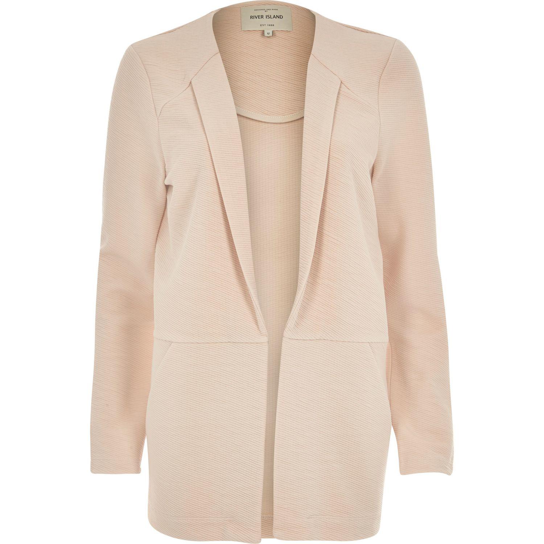 River island Light Pink Textured Blazer Jacket in Pink | Lyst