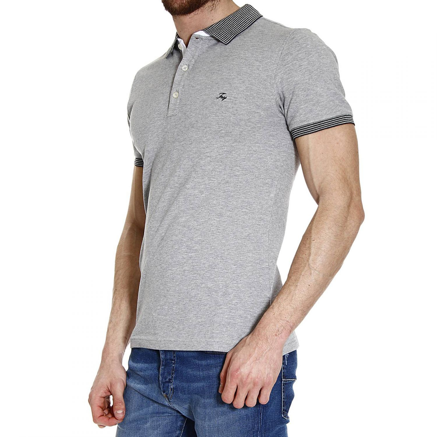 Fay t shirt polo half sleeve piquet doppiocollo french or for Men s spread collar shirts