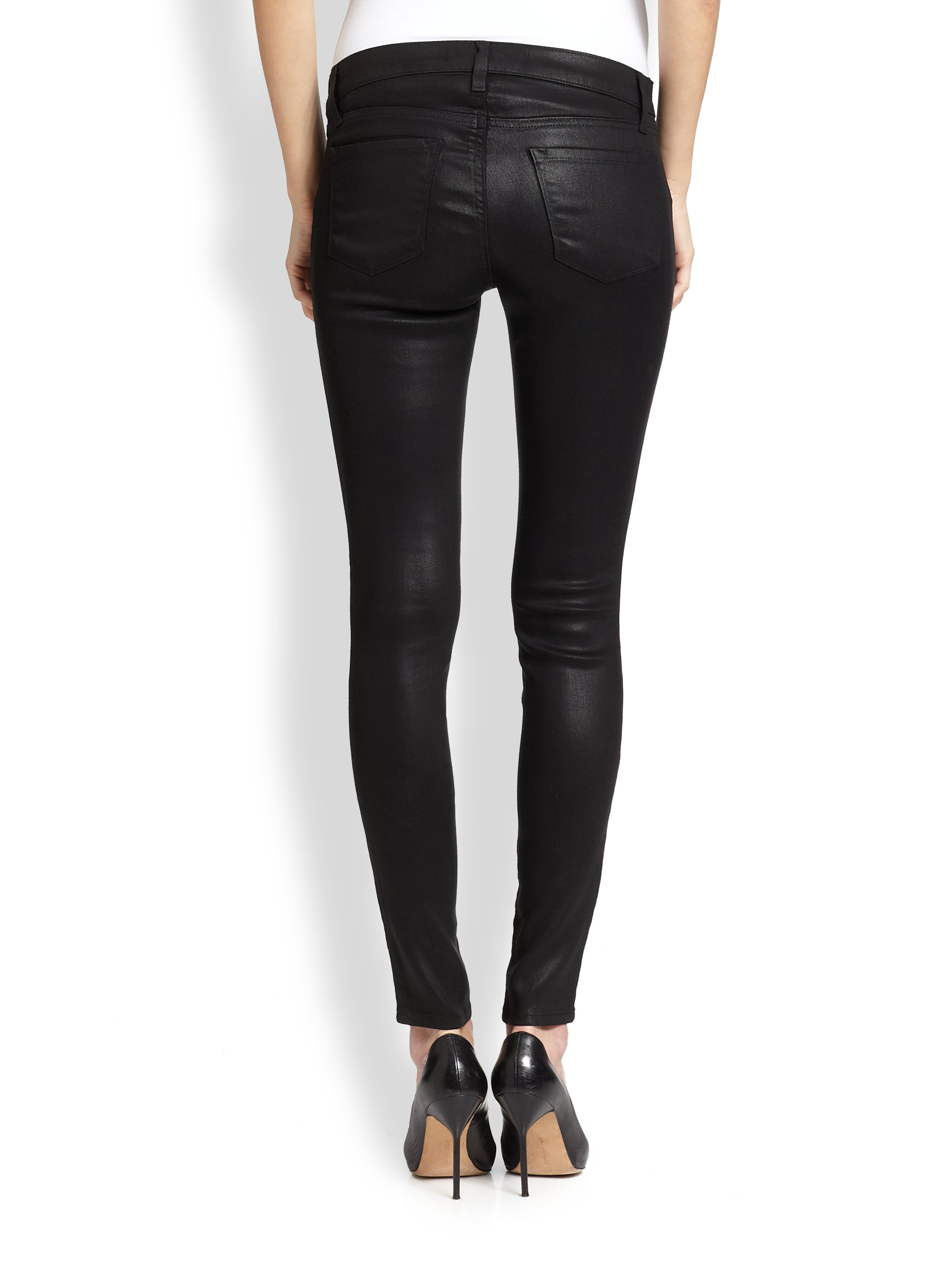 J brand Coated Skinny Maternity Jeans in Black | Lyst