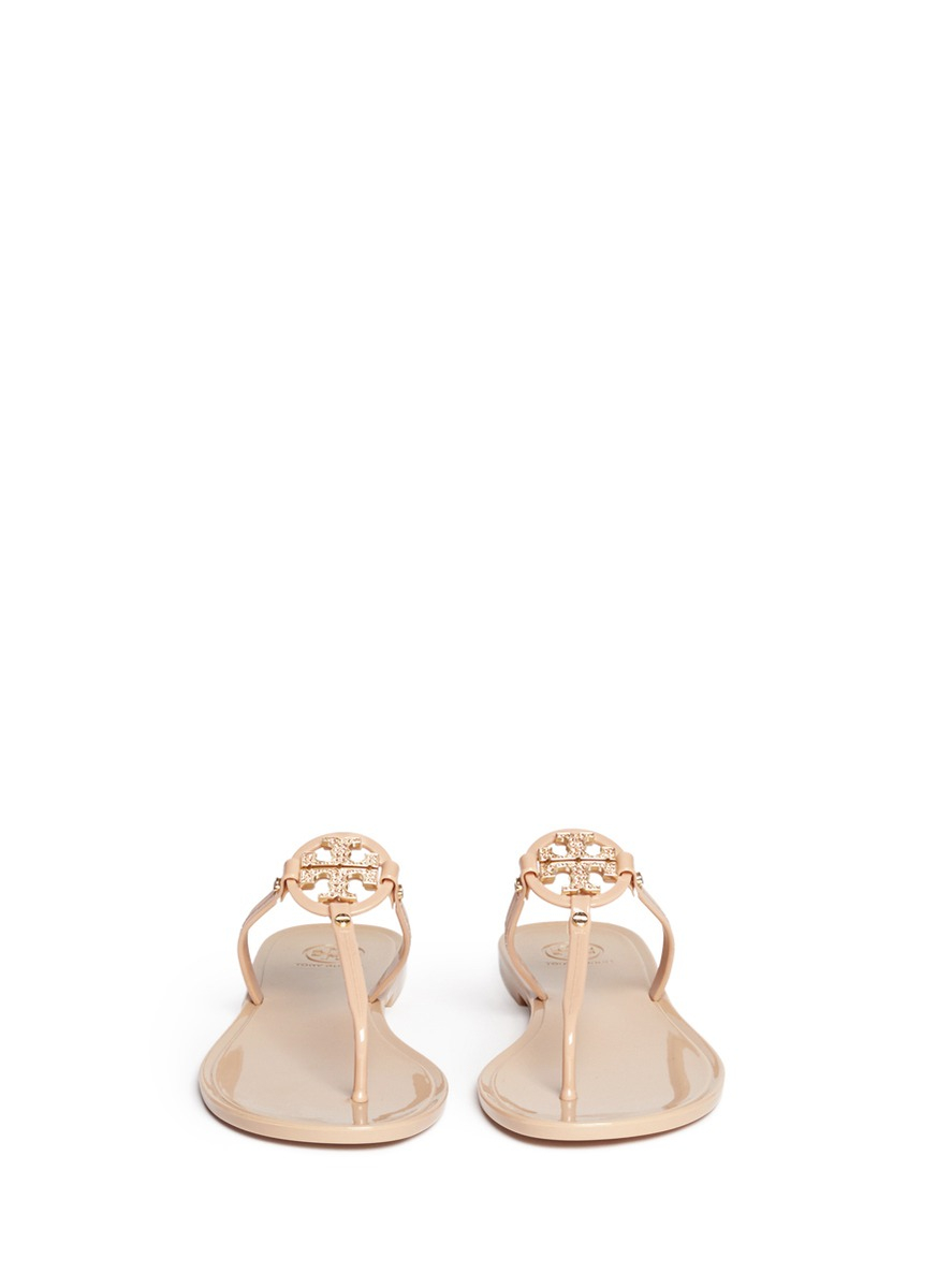 3719f993a Tory Burch  Mini Miller  Crystal Logo Jelly Thong Sandals in Natural ...