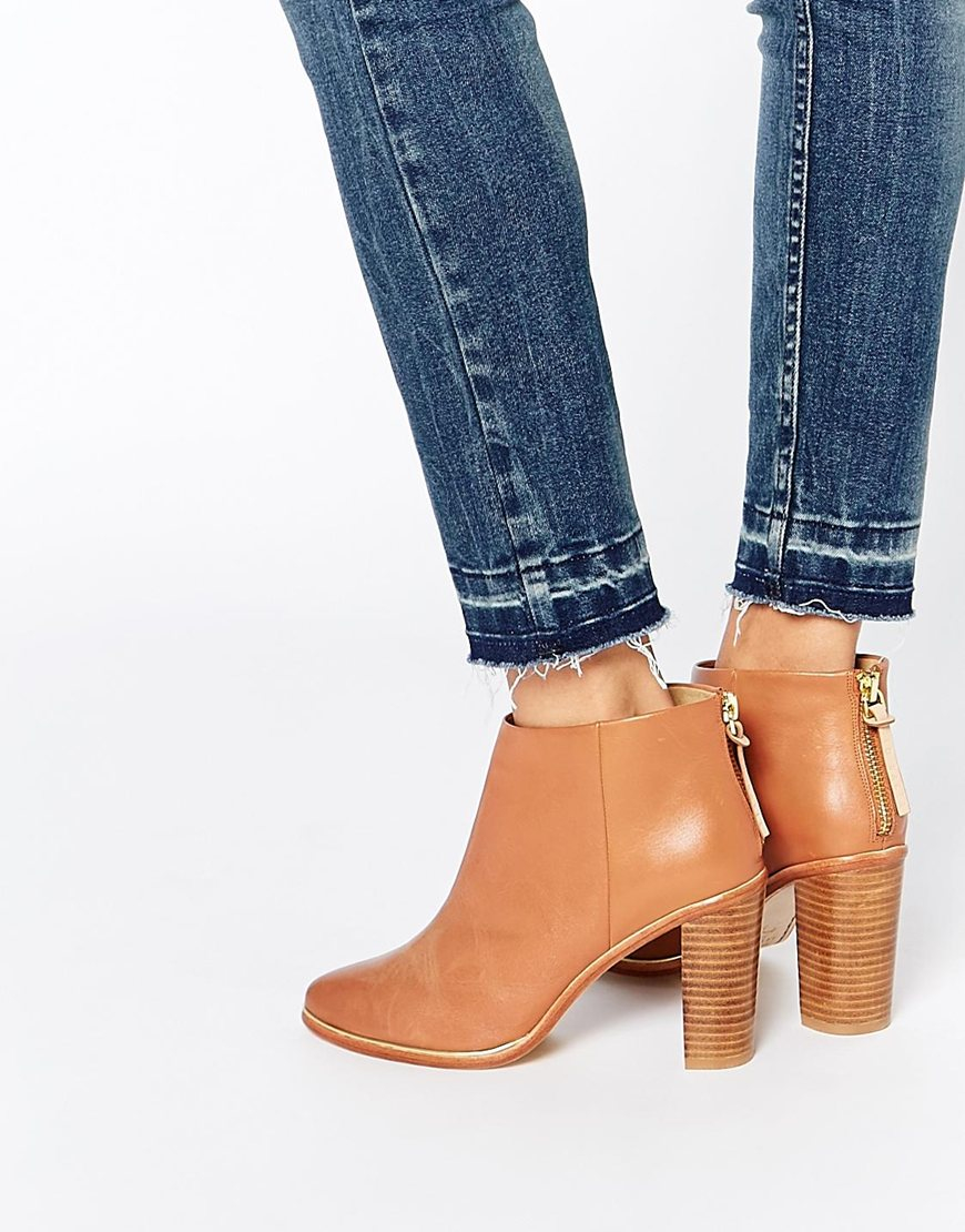 365e0a789a3c Lyst - Ted Baker Lorca 2 Tan Leather Heeled Ankle Boots in Brown