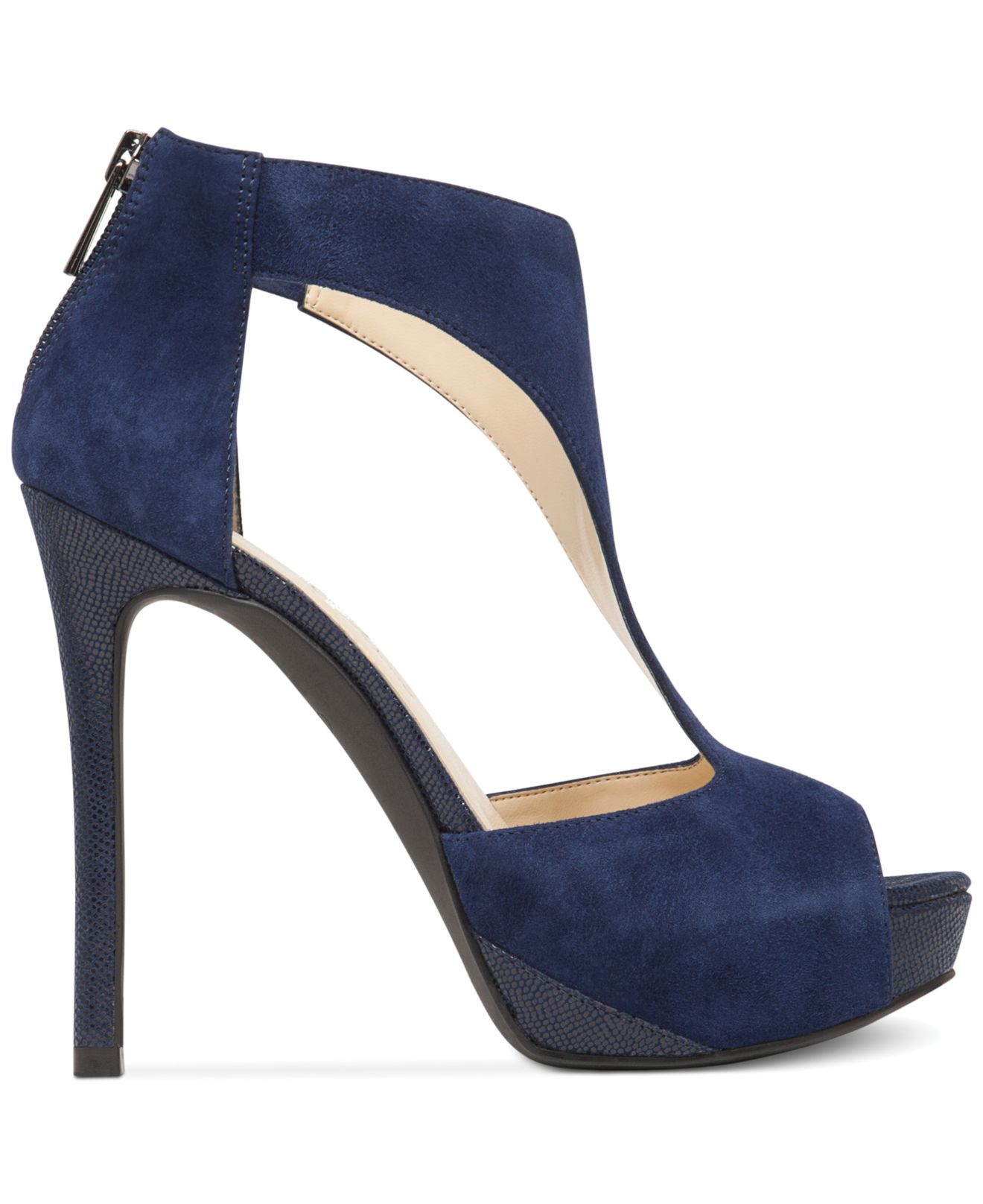 Lyst Jessica Simpson Carideo T Strap Platform Pumps In Blue