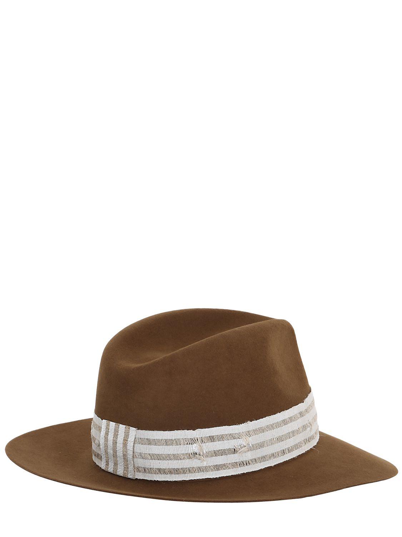 Lyst maison michel henrietta mink felt hat with denim for Maison michel