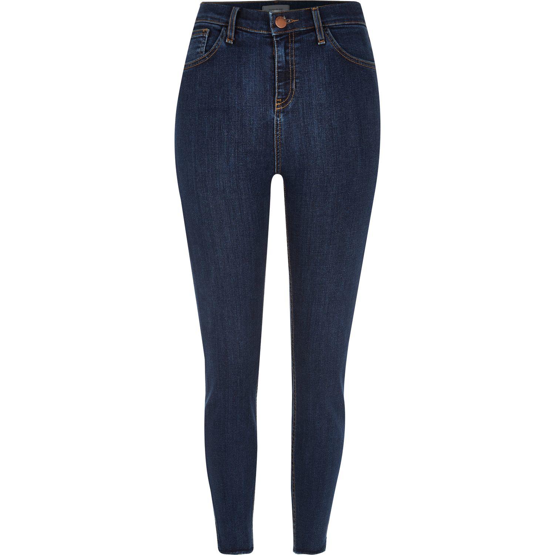 River island Dark Blue Wash High Rise Lori Skinny Jeans in Blue | Lyst