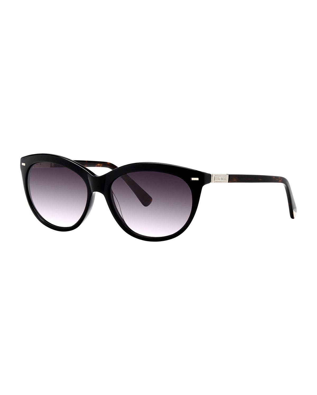 78b91adc147 Lyst - Nina Ricci Round Tortoise Shell Acetate Sunglasses in Black