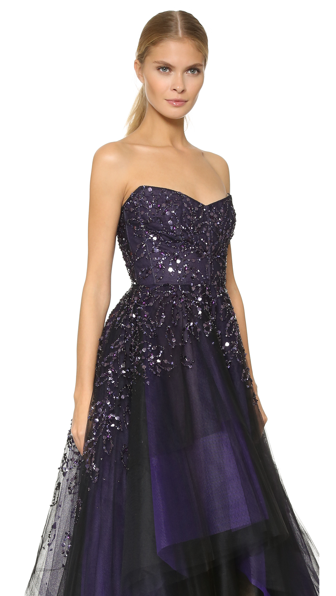 Monique lhuillier Strapless Ball Gown - Deep Plum in Purple | Lyst
