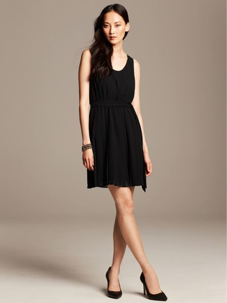 Banana Republic Black Pleated Dress In Black Lyst