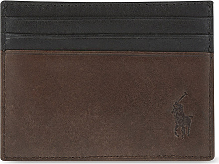 Mens Brown Polo Ralph Lauren Leather Card Holder QH816098u