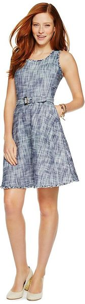 C. Wonder Belted Boucle Dress in Blue (NAVY)
