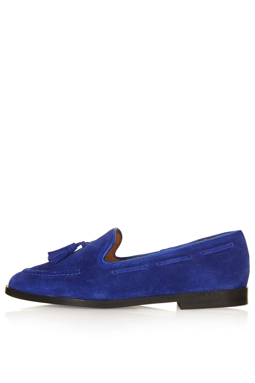 Lyst Topshop Kiki Suede Tassel Loafers In Blue