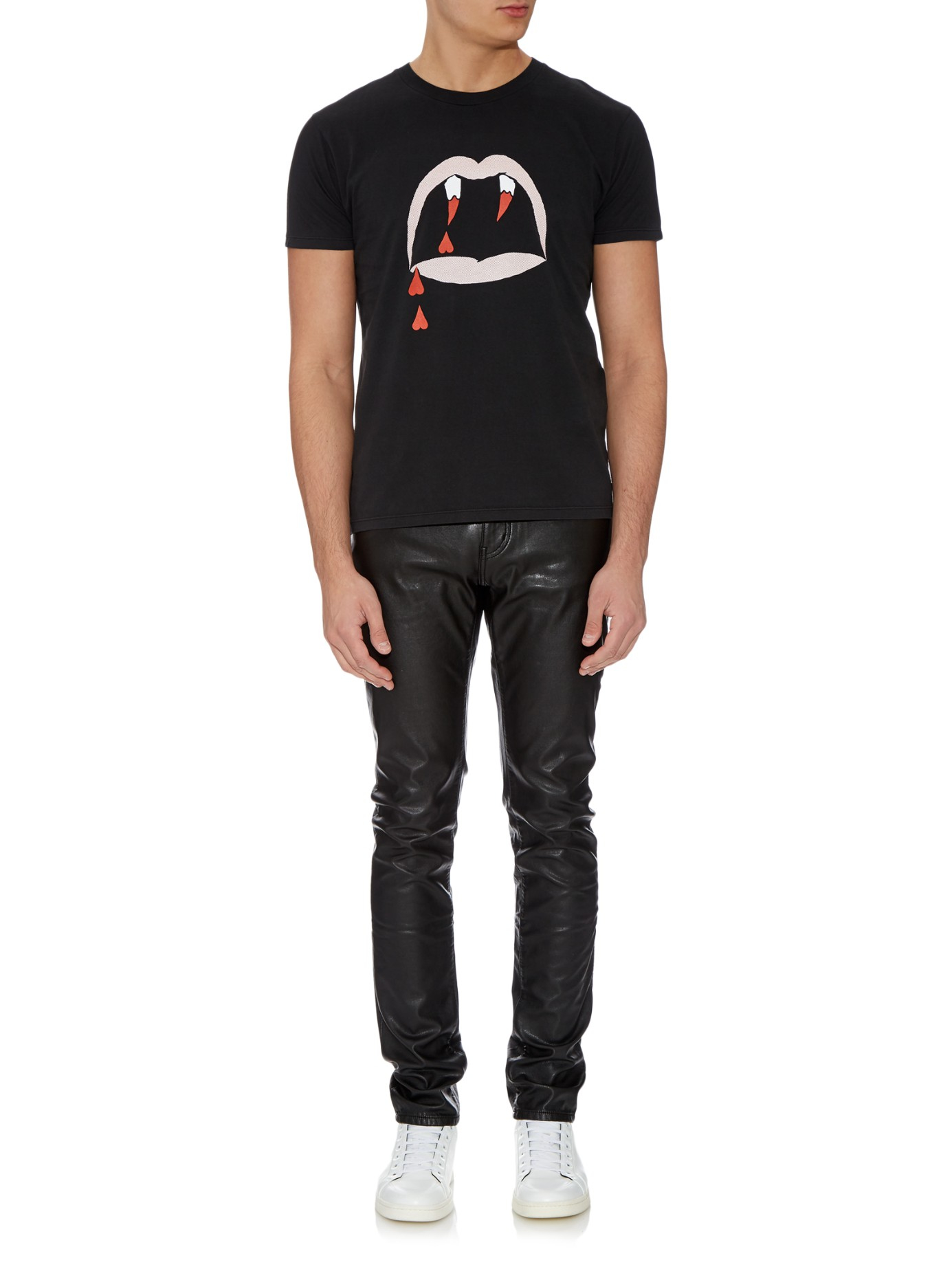 2e93da93b46 Saint Laurent Blood Luster-print Cotton-jersey T-shirt in Black for ...