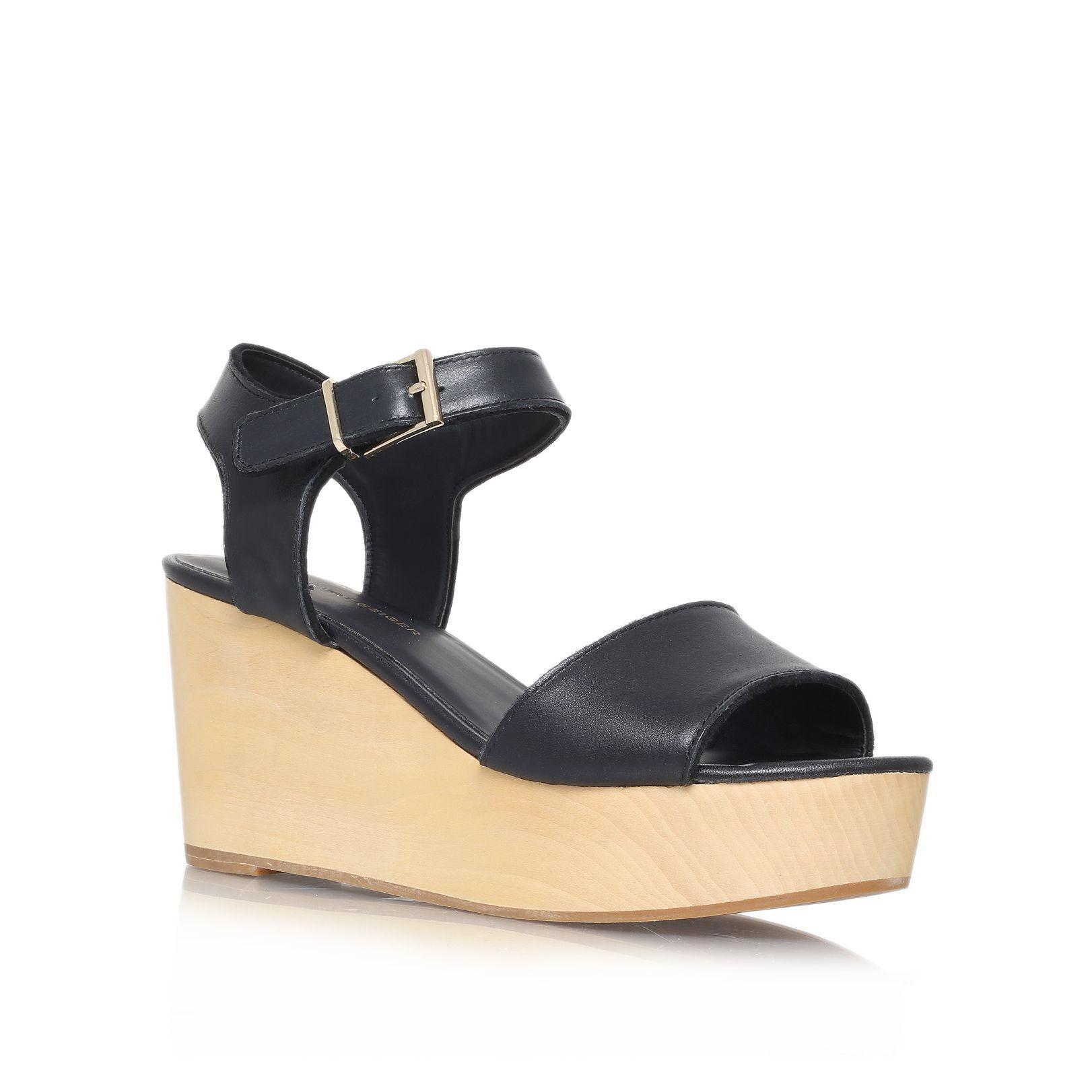 kg kurt geiger nia high heel wedge sandals in black lyst