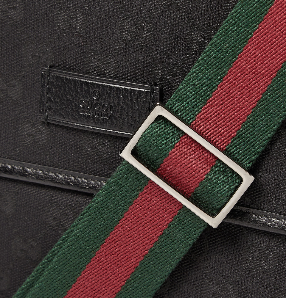Black Gucci Backpack With Red And Green Strap, Fenix