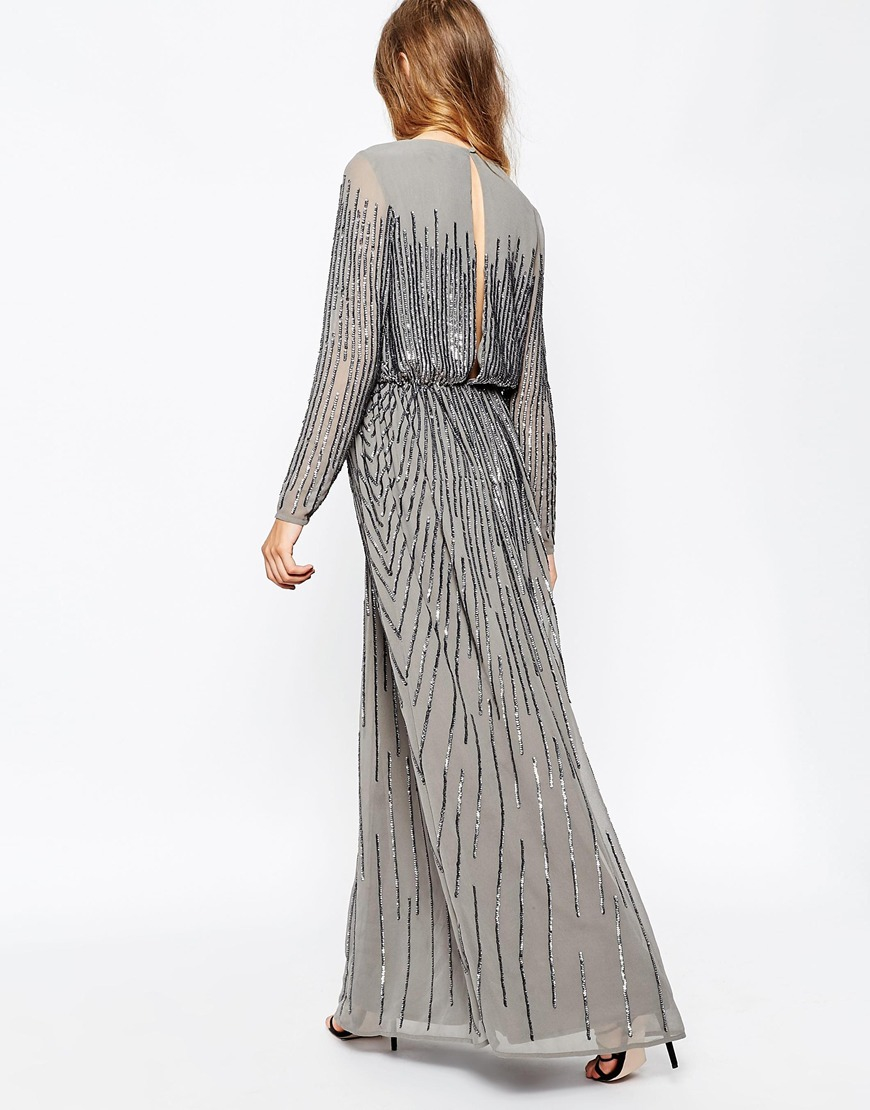 1e3e20cd17c ASOS Linear Sequin Long Sleeve Maxi Dress in Gray - Lyst
