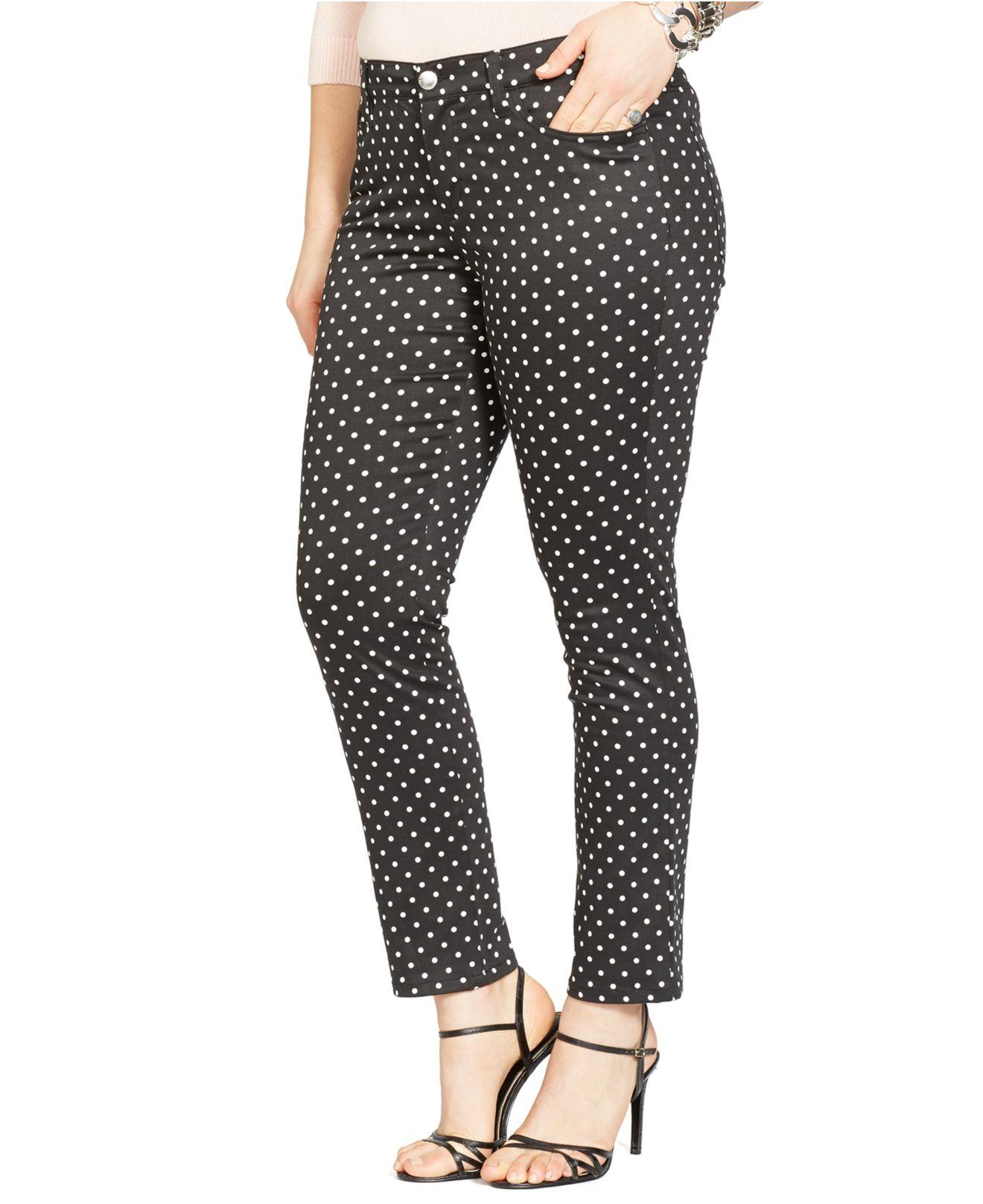 Lauren By Ralph Lauren Plus Size Polka Dot Skinny Ankle