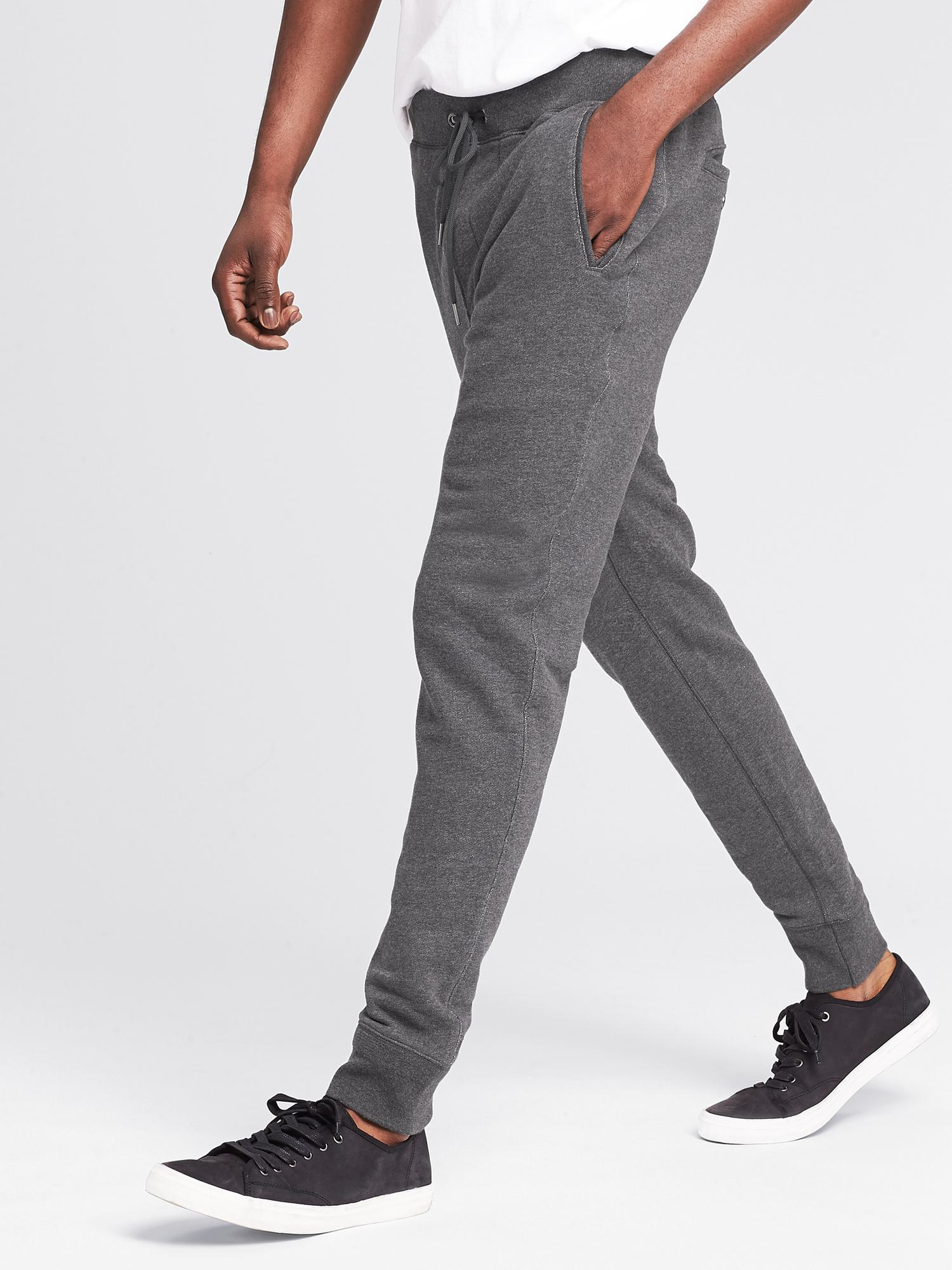 Banana Republic Heritage Charcoal Knit Jogger In Gray For