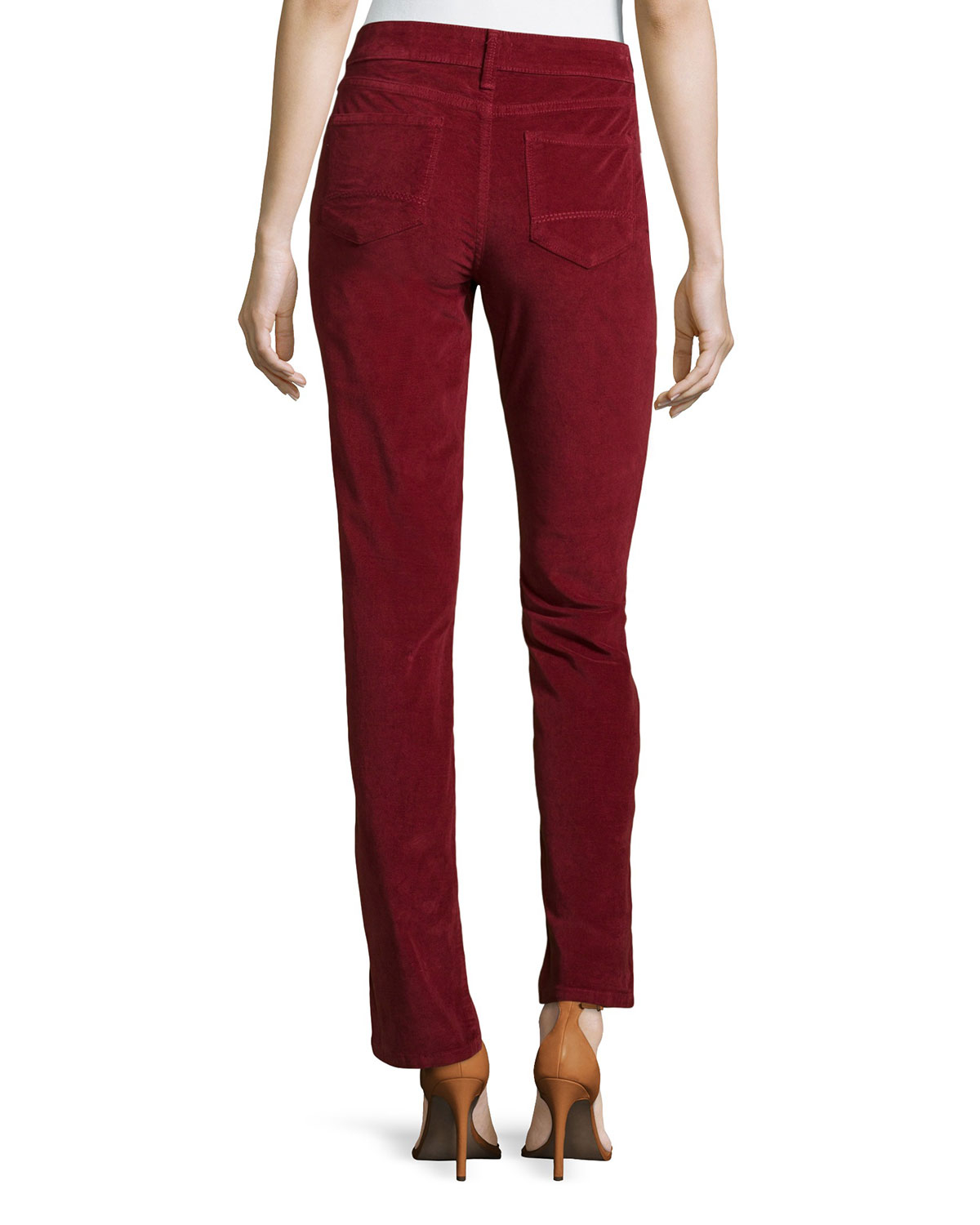 Nydj Marilyn Straight-Leg Corduroy Pants in Red | Lyst