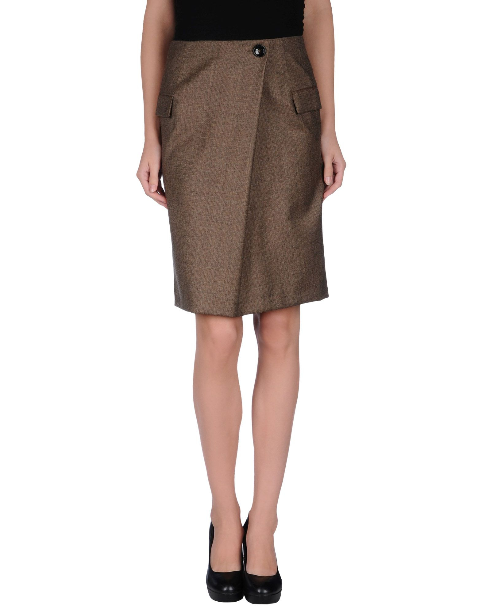 mauro grifoni knee length skirt in khaki lyst
