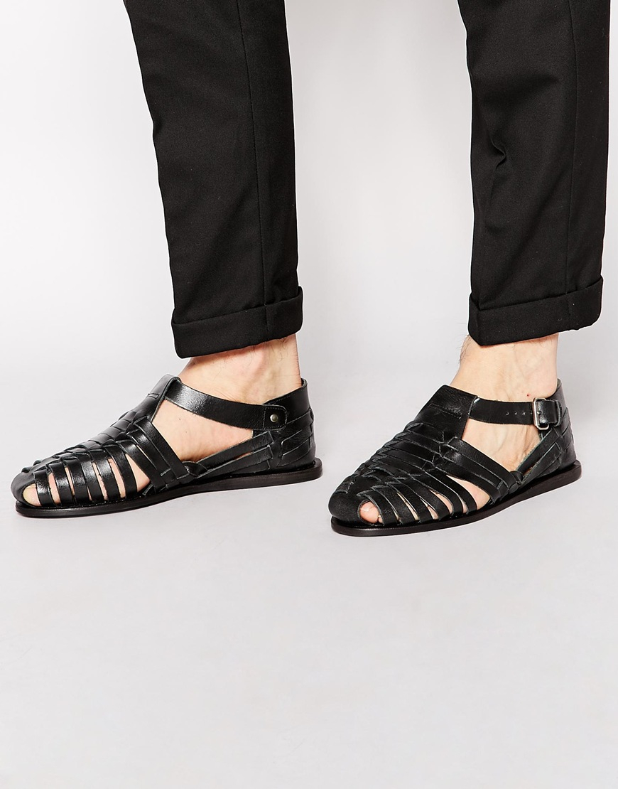 4442159a6 ASOS Gladiator Sandals In Leather in Black for Men - Lyst
