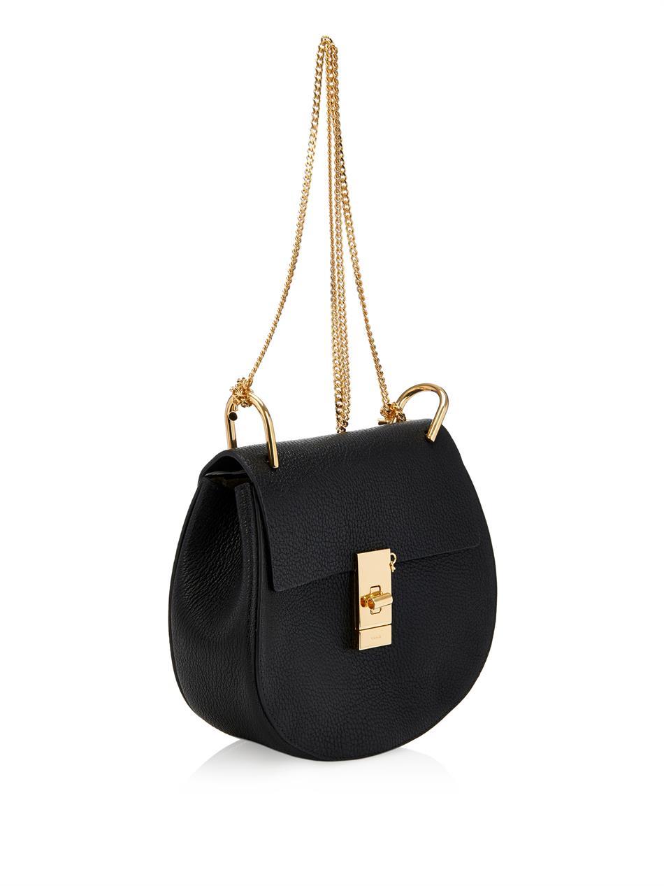 chlo drew small leather shoulder bag in black lyst. Black Bedroom Furniture Sets. Home Design Ideas