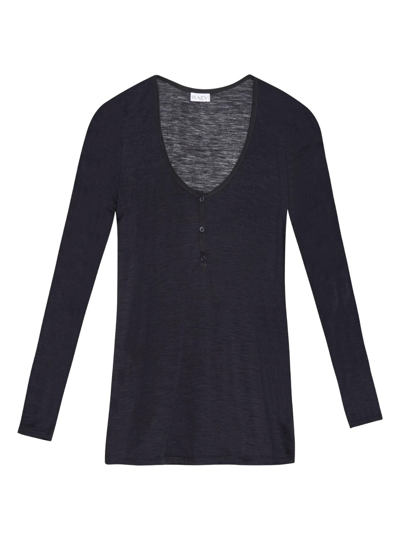 Raey wool blend henley top in blue lyst for Adam lippes women s long sleeve vee t shirt