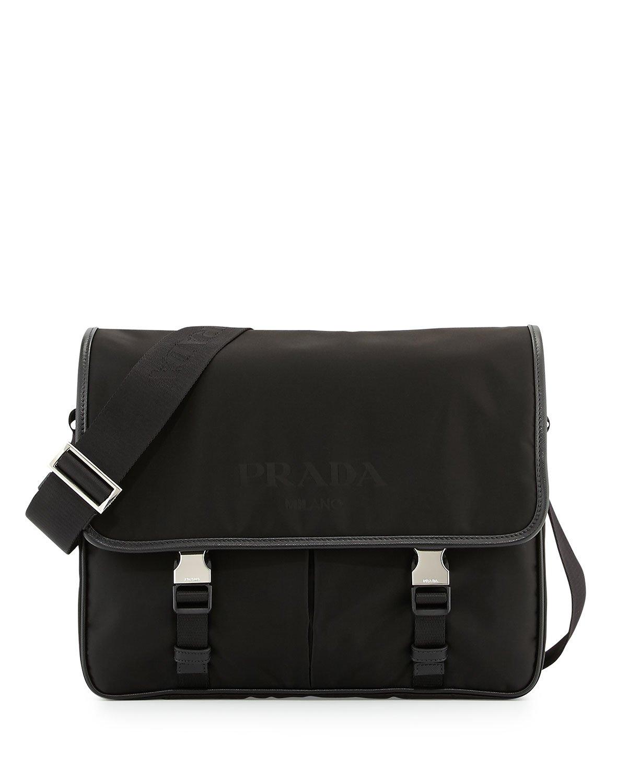 Prada Men's Large Nylon Messenger Bag in Black for Men | Lyst
