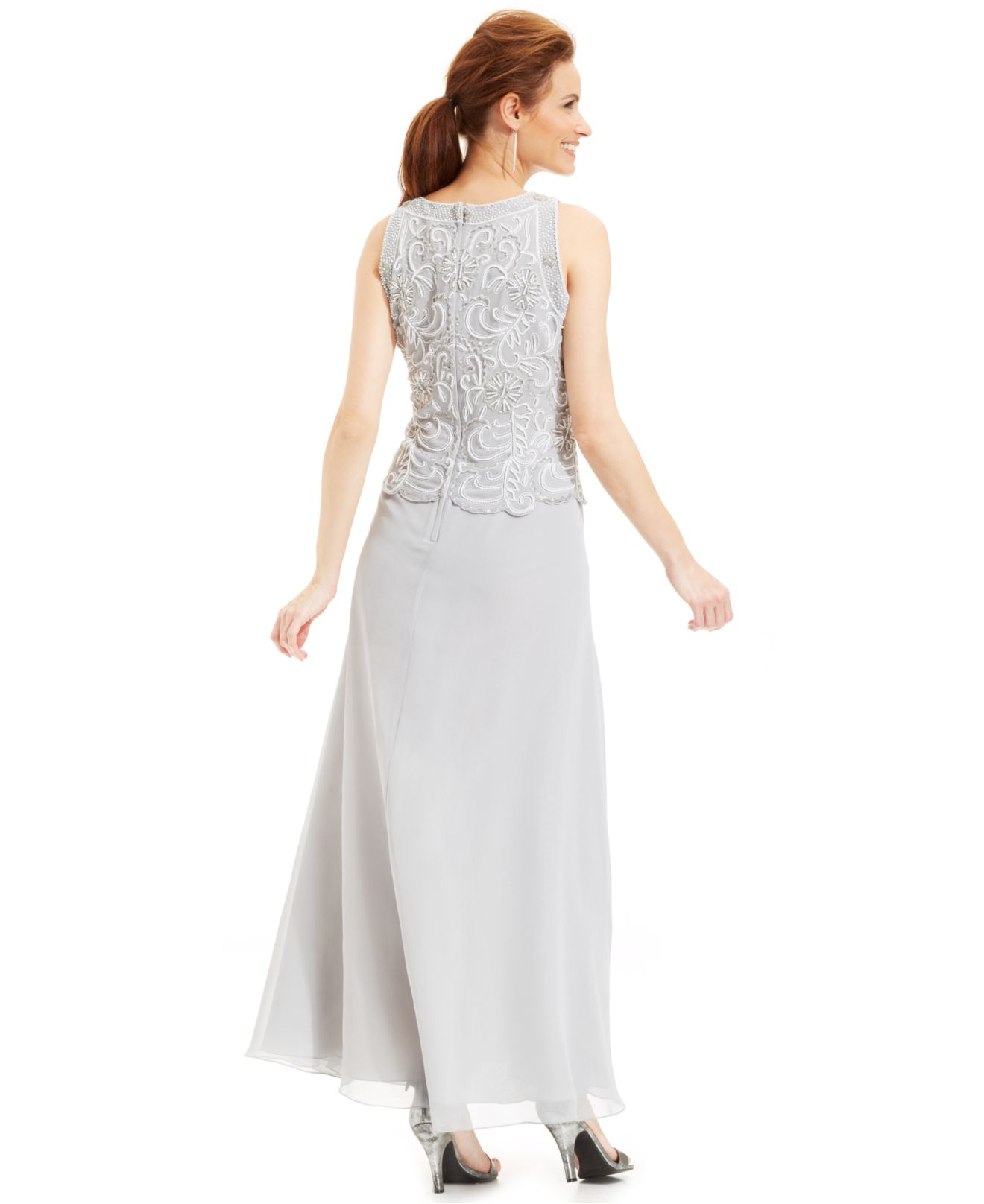 97307dec439d J Kara Beaded Bodice Chiffon Gown And Shawl in Metallic - Lyst