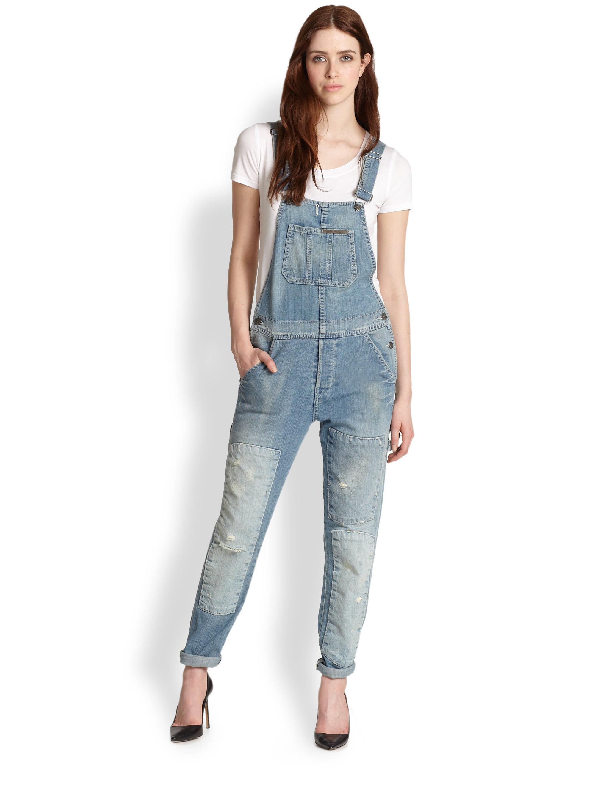 true religion erin distressed denim overalls in blue lyst
