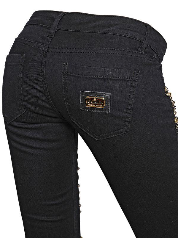 Philipp Plein Studded Stretch Cotton Denim Jeans In Black
