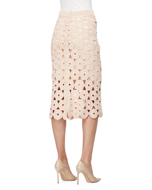 crochet midi pencil skirt in pink lyst