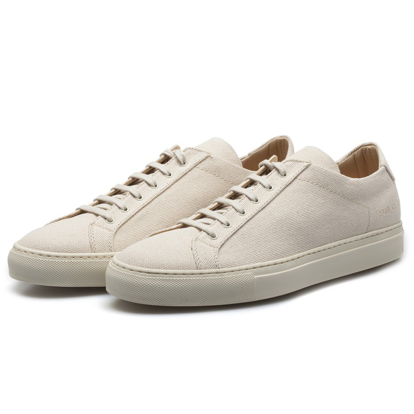 Common projects Off-White Premium Canvas Achilles Low Sneakers in White for Men | Lyst