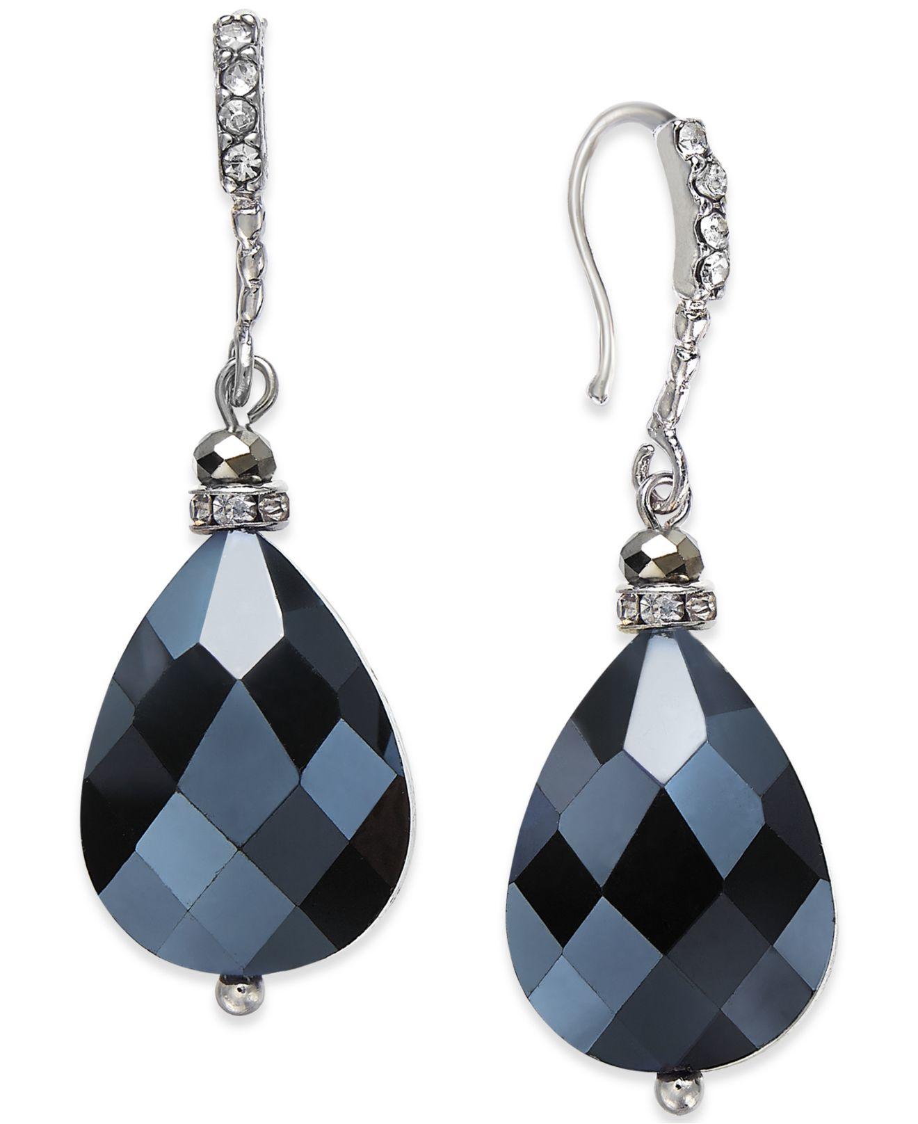 Inc International Concepts Silver Tone Black Bead Teardrop