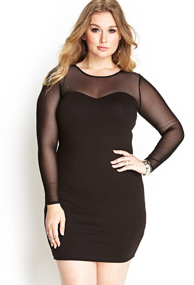 Long forever black 21 bodycon dress sleeve shops