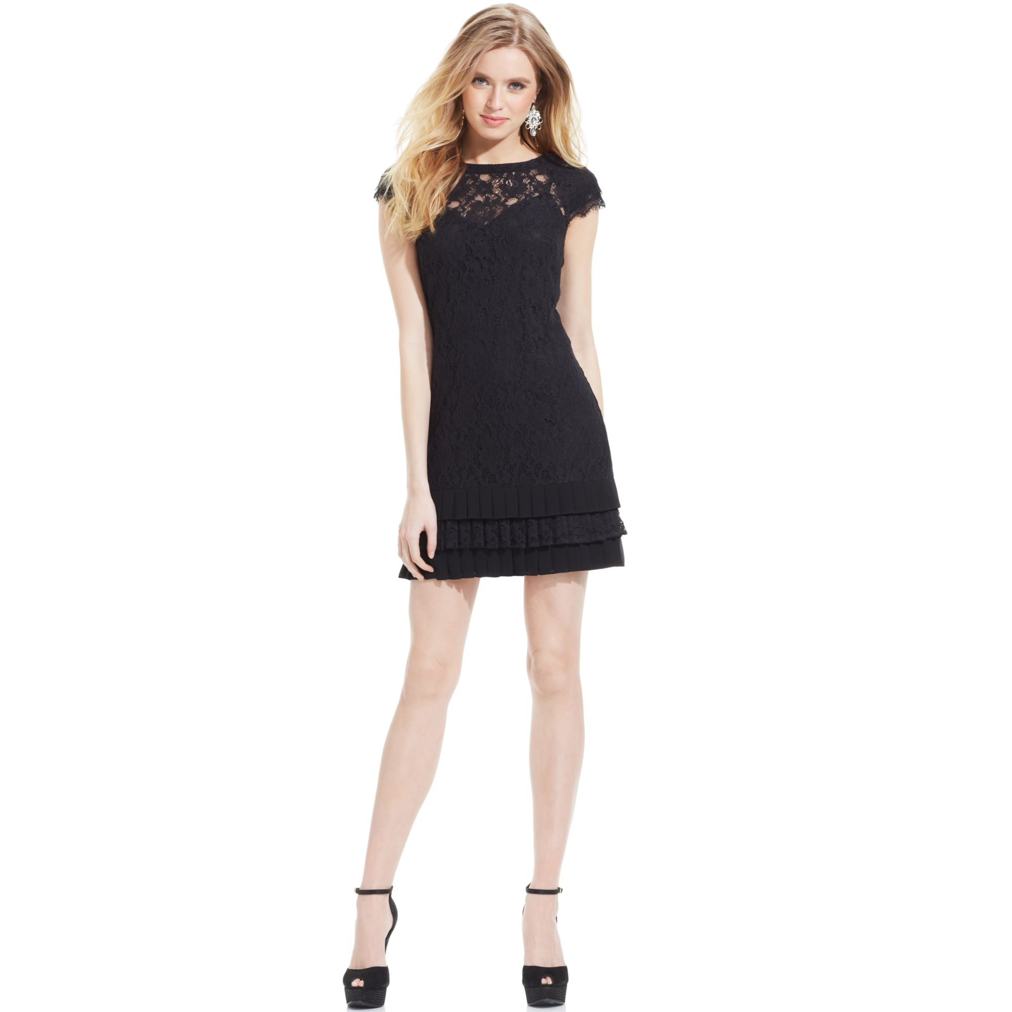 Turmec » black dress with lace cap sleeves