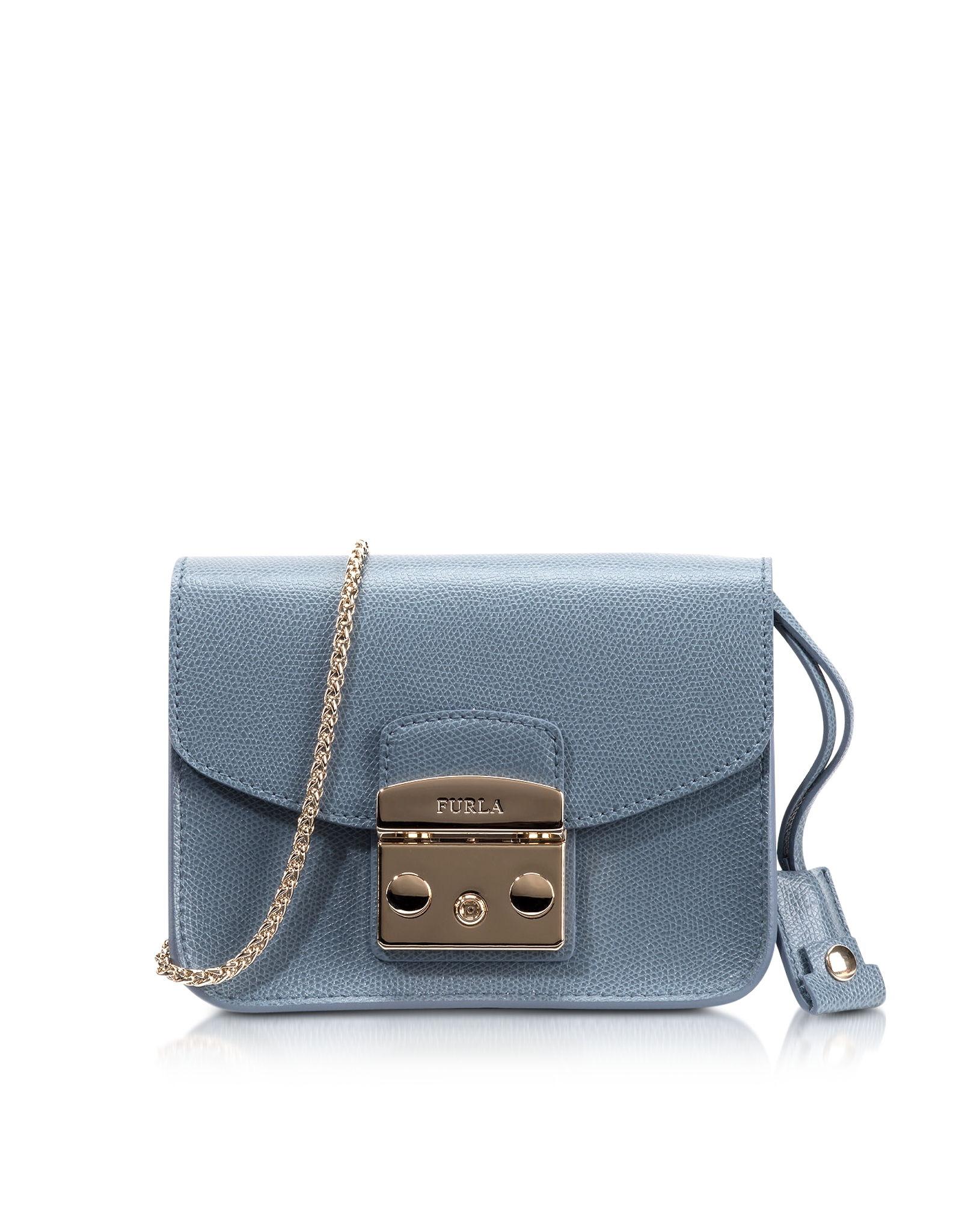 d7b0689bb86a Lyst - Furla Metropolis Dolomia Leather Mini Crossbody Bag in Blue