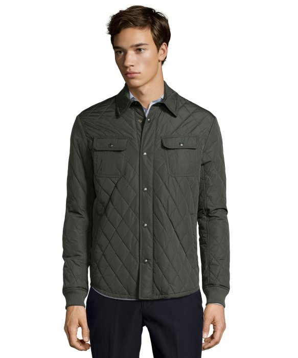 Lyst Vince Olive Quilted Poly Woven Long Sleeve Cpo