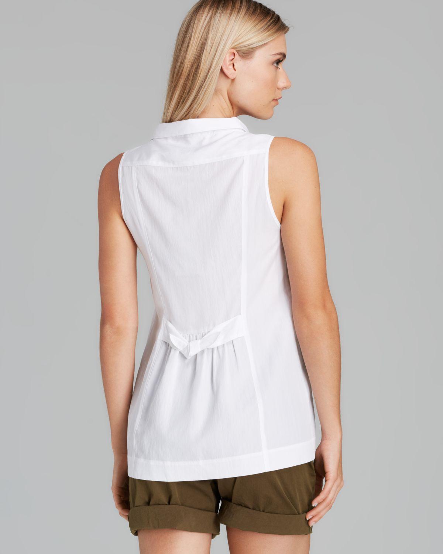 Burberry Brit Sleeveless Tie Back Shirt In White Lyst