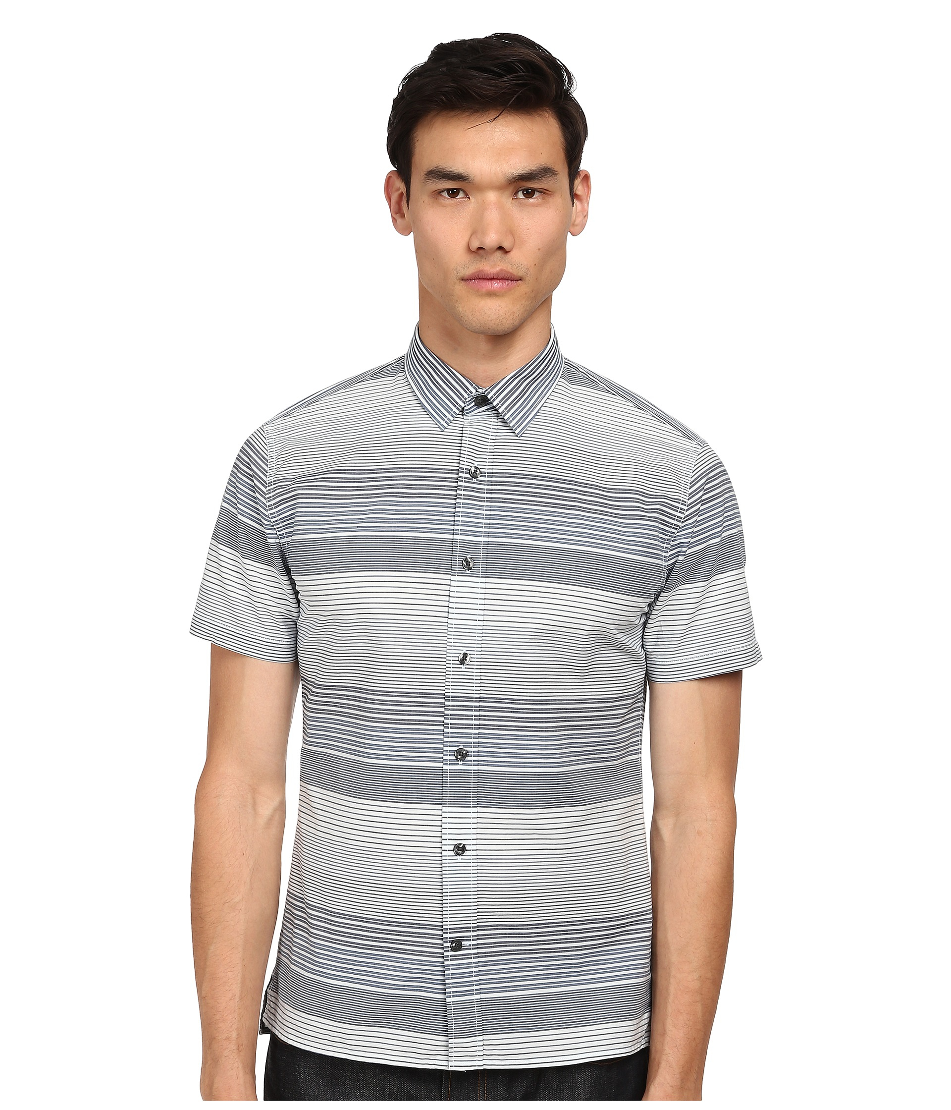 Lyst vince striped short sleeve button up shirt in gray for Striped button up shirt mens