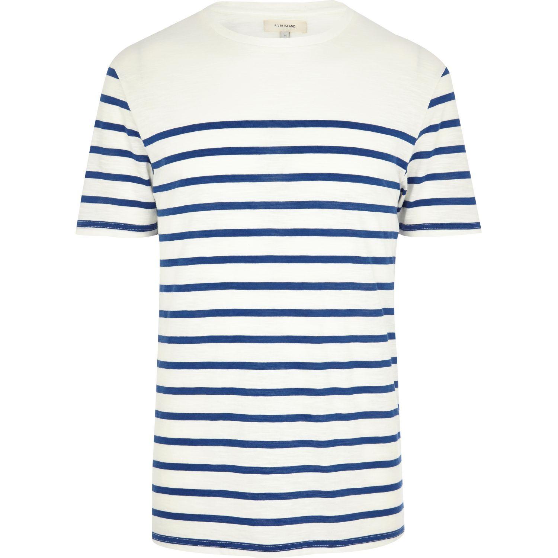11686edefe River Island Navy Breton Stripe T-Shirt in Blue for Men - Lyst