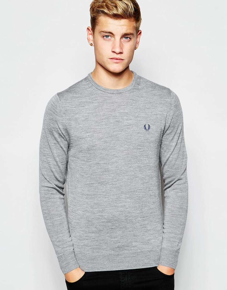 Fred Perry Merino Crew Neck Knit - Grey