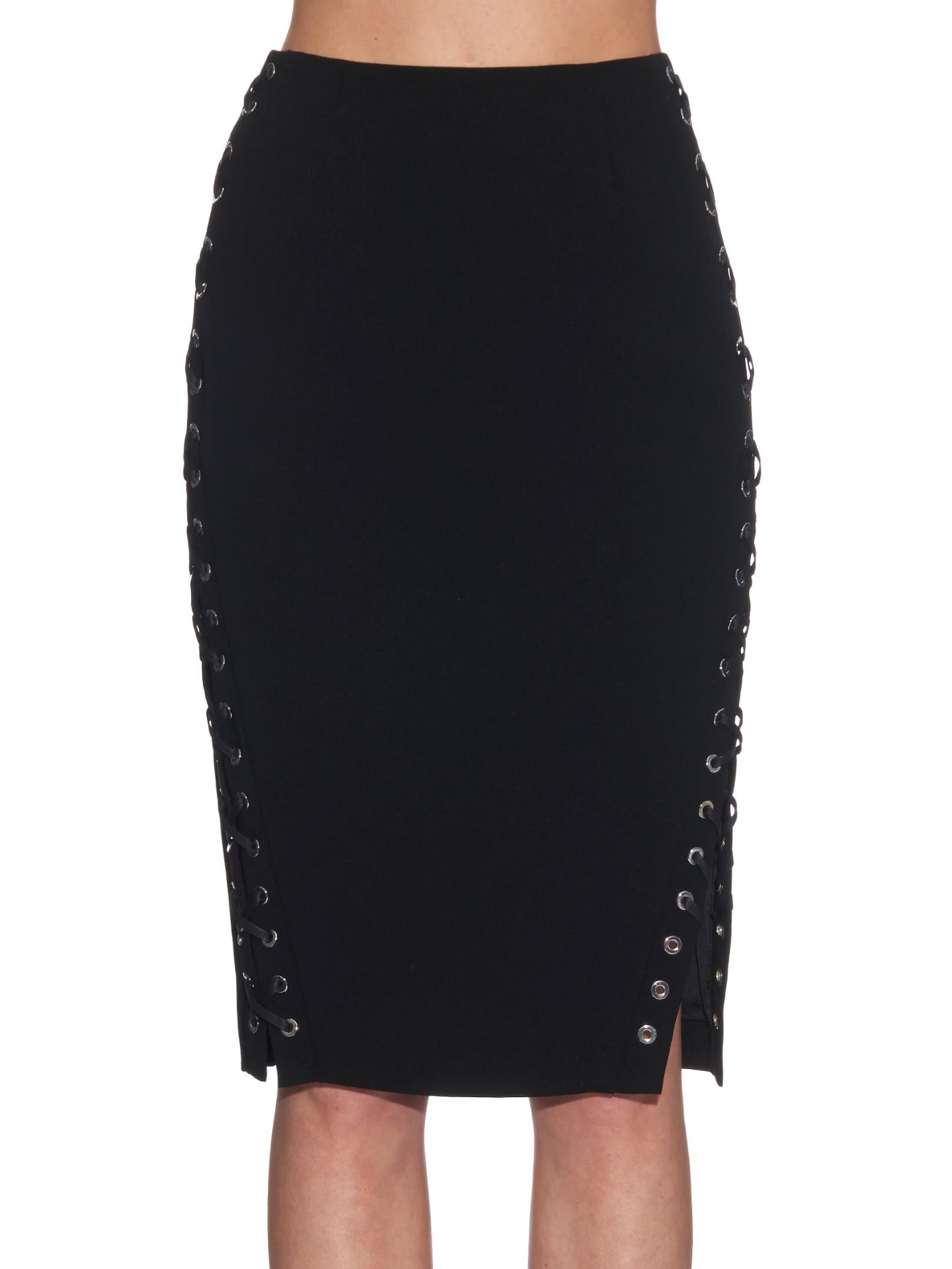 altuzarra lace up crepe pencil skirt in black lyst