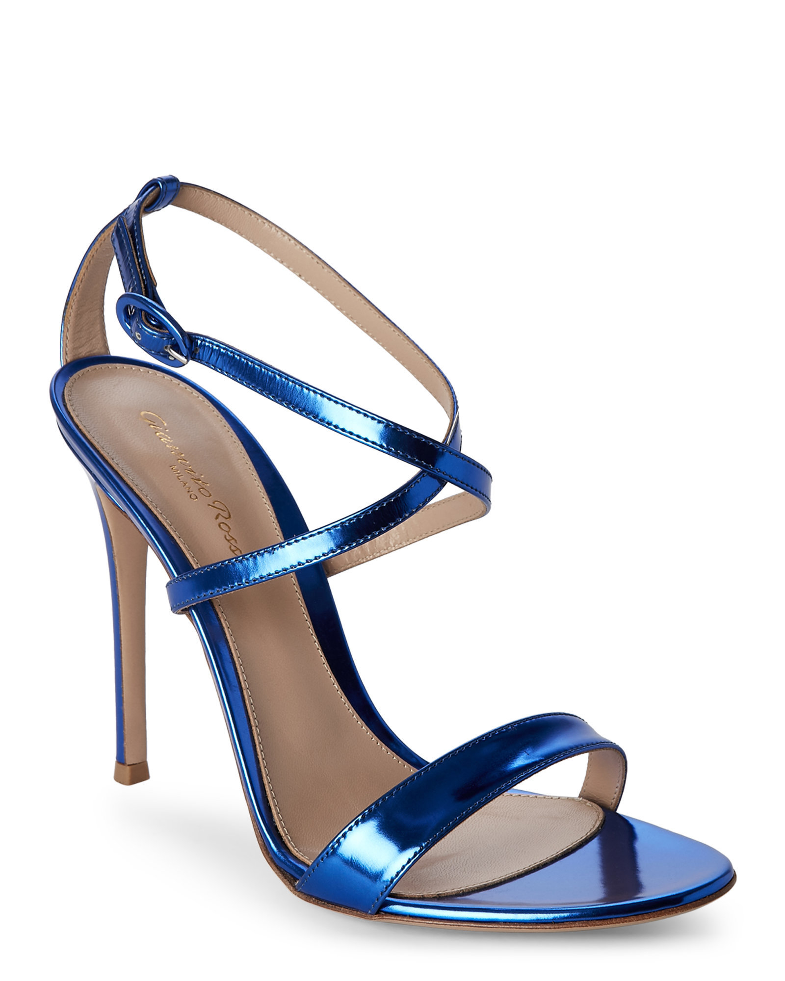 0eb94a2367a1 Lyst - Gianvito Rossi Metallic Cobalt Strappy Sandals in Blue
