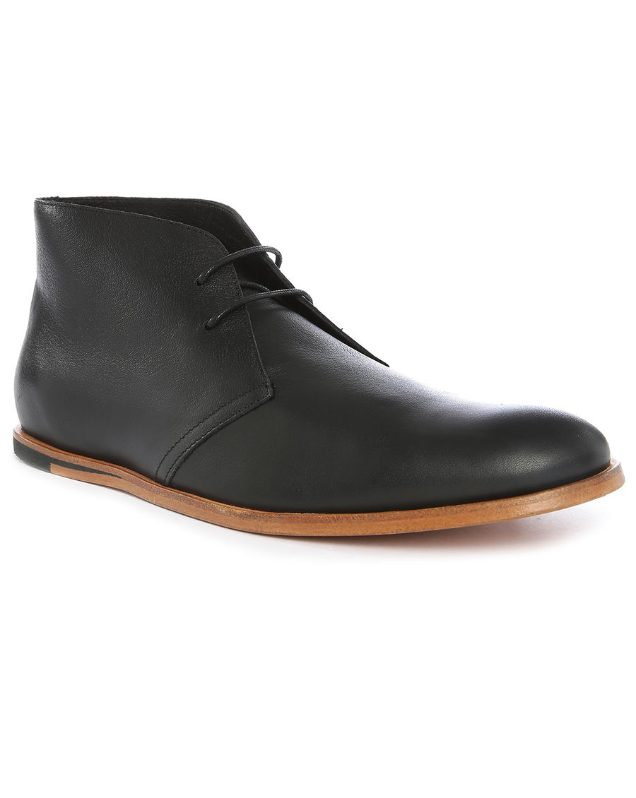 opening ceremony black leather desert boots in black for