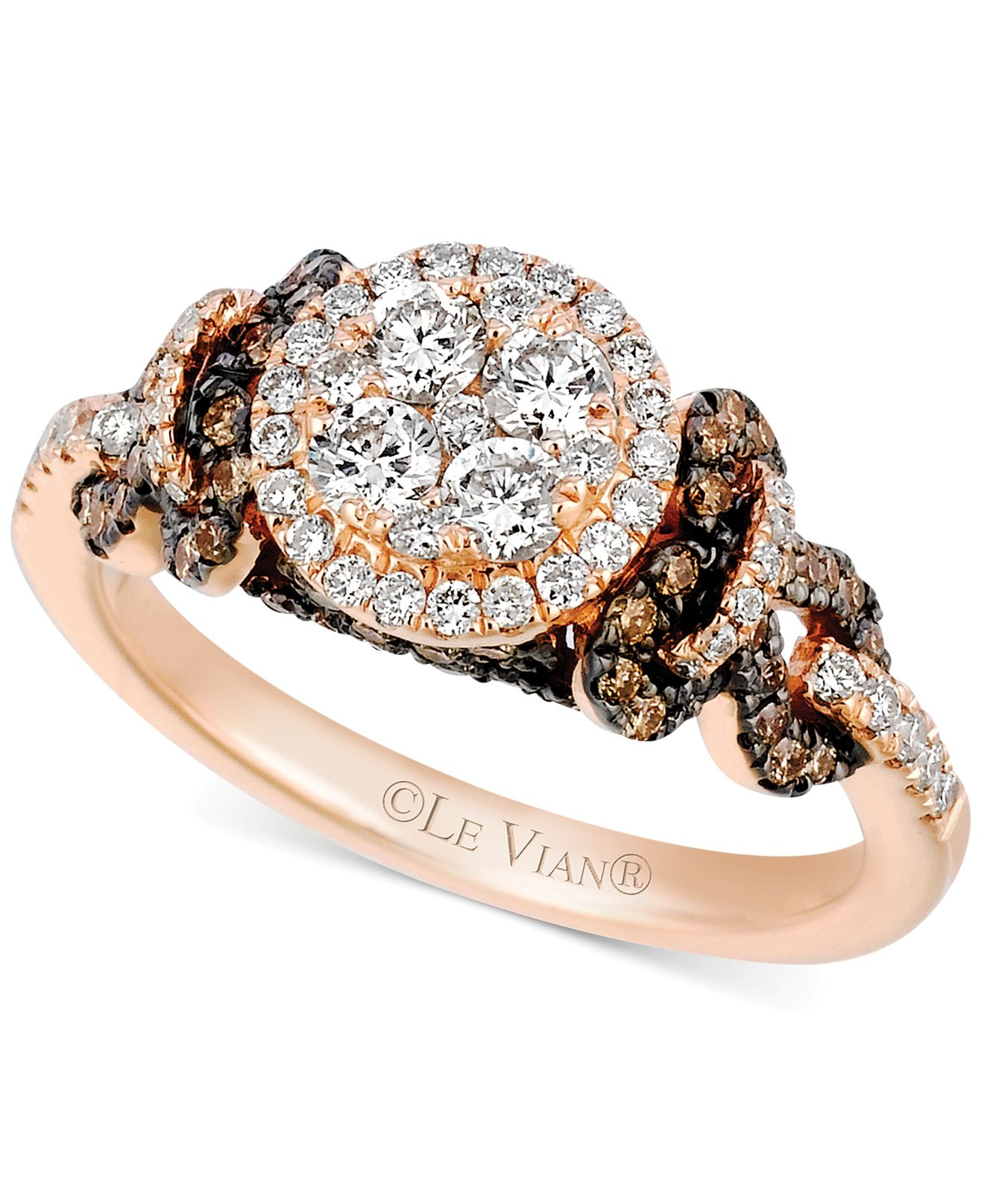 Le vian Chocolate And White Diamond Cluster Ring In 14k Rose Gold ...