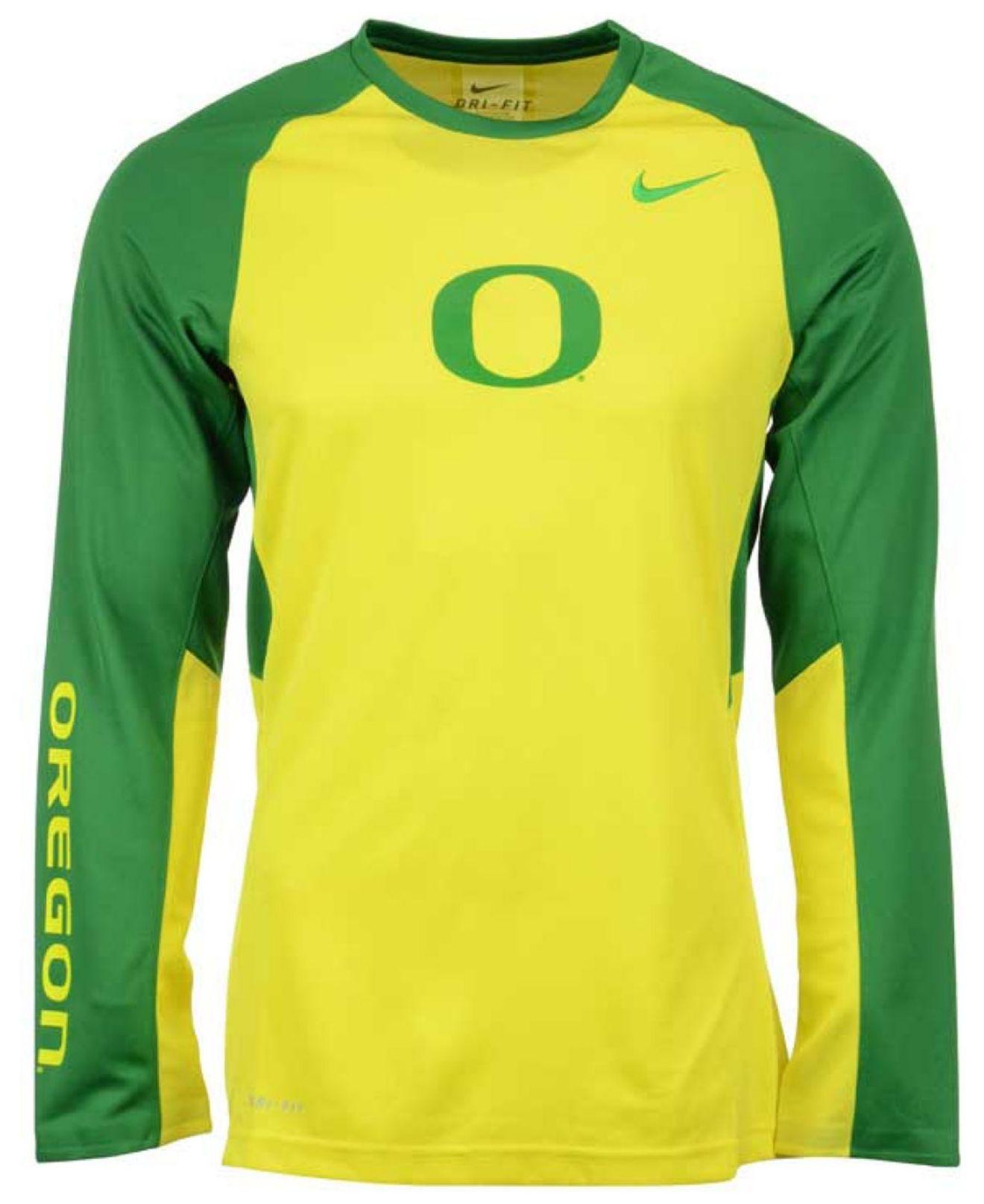 2373bda3 Nike Men's Long-sleeve Oregon Ducks Elite Shootaround T-shirt in ...